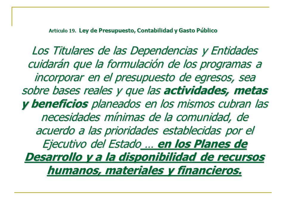 Artículo 19. Ley de Presupuesto, Contabilidad y Gasto Público