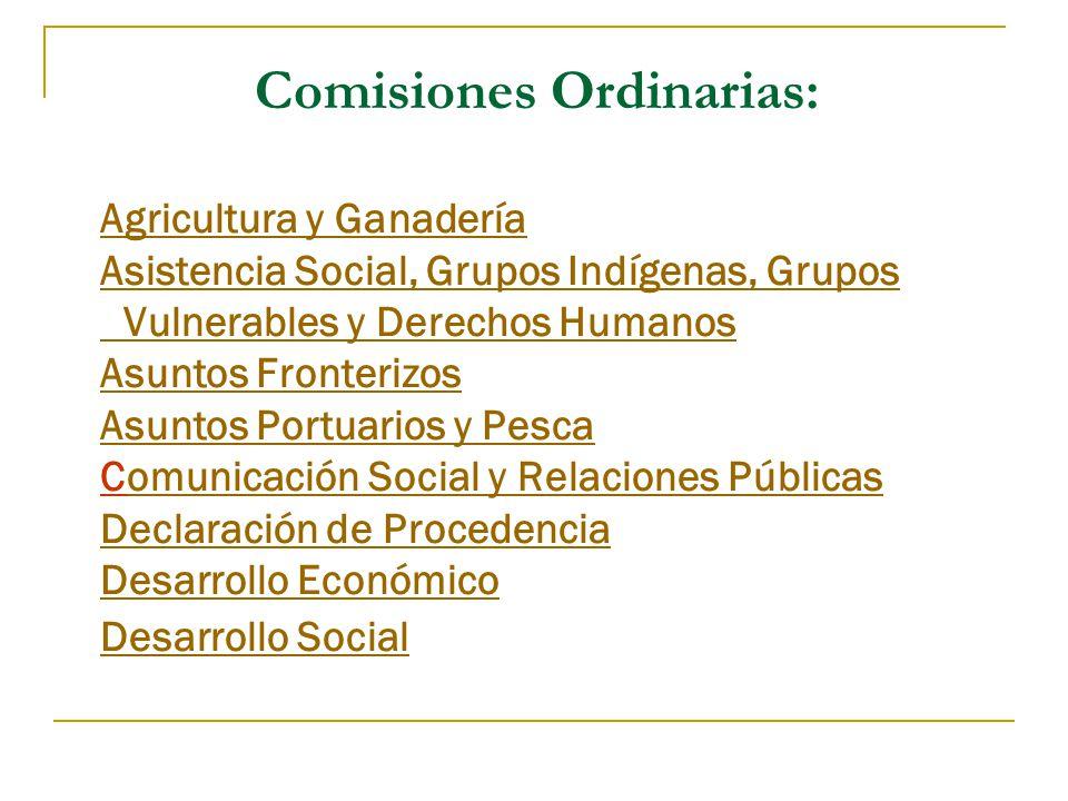 Comisiones Ordinarias: Agricultura y Ganadería Asistencia Social, Grupos Indígenas, Grupos Vulnerables y Derechos Humanos Asuntos Fronterizos Asuntos Portuarios y Pesca Comunicación Social y Relaciones Públicas Declaración de Procedencia Desarrollo Económico Desarrollo Social