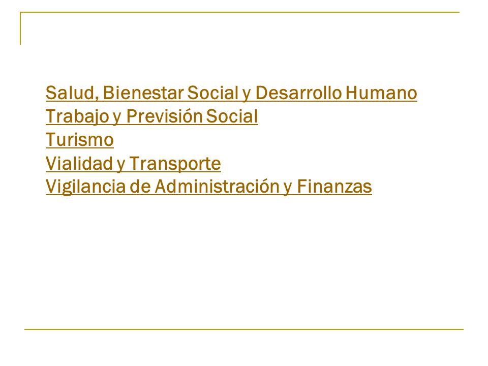 Salud, Bienestar Social y Desarrollo Humano Trabajo y Previsión Social Turismo Vialidad y Transporte Vigilancia de Administración y Finanzas