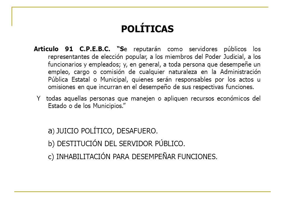 POLÍTICAS a) JUICIO POLÍTICO, DESAFUERO.