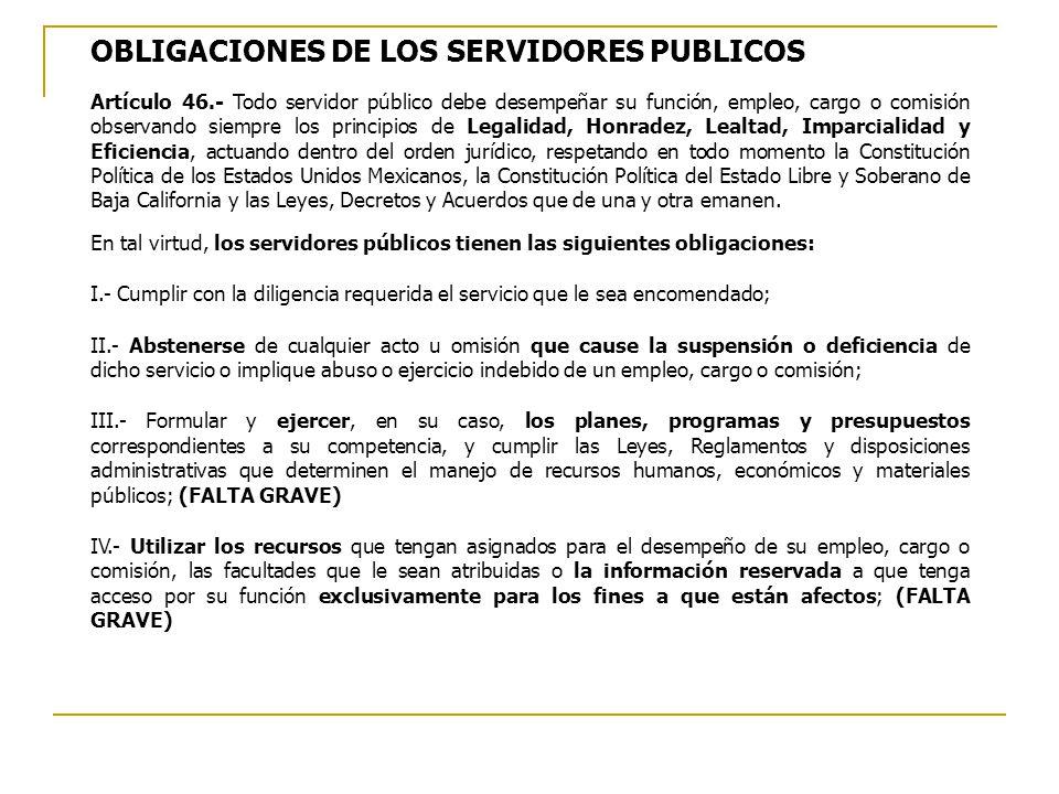 OBLIGACIONES DE LOS SERVIDORES PUBLICOS