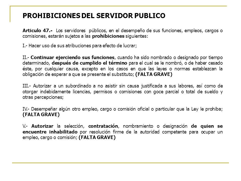 PROHIBICIONES DEL SERVIDOR PUBLICO