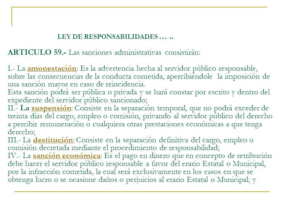 LEY DE RESPONSABILIDADES …. ARTICULO 59