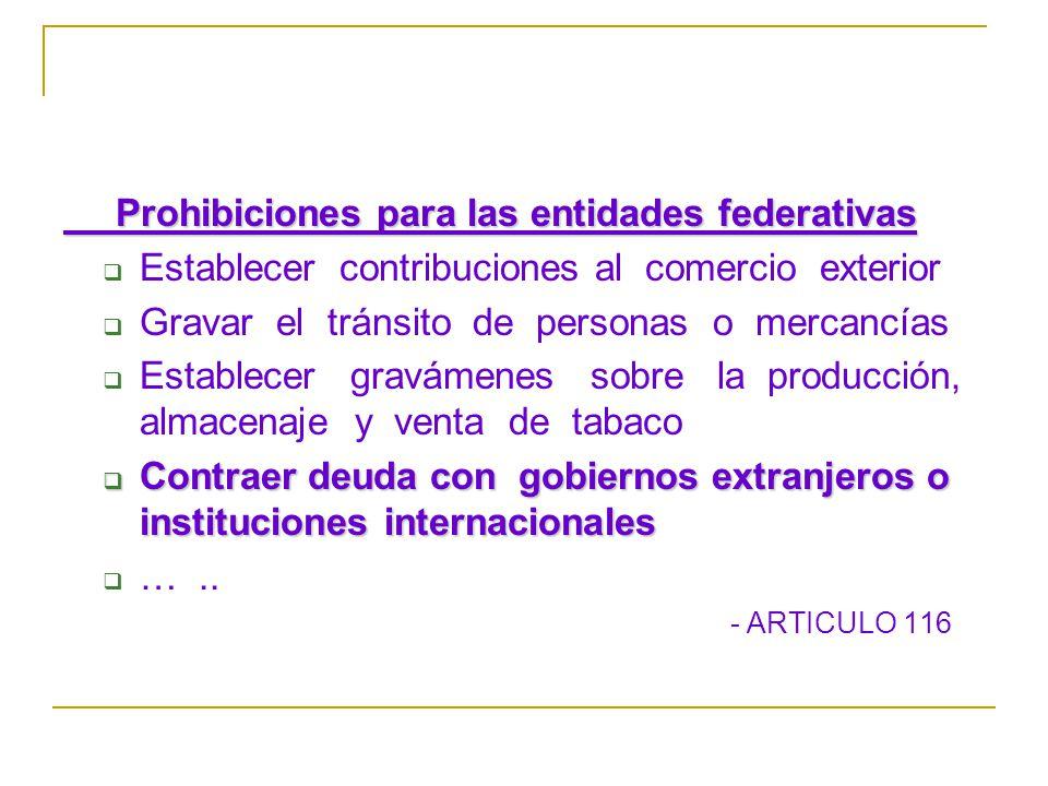 Prohibiciones para las entidades federativas