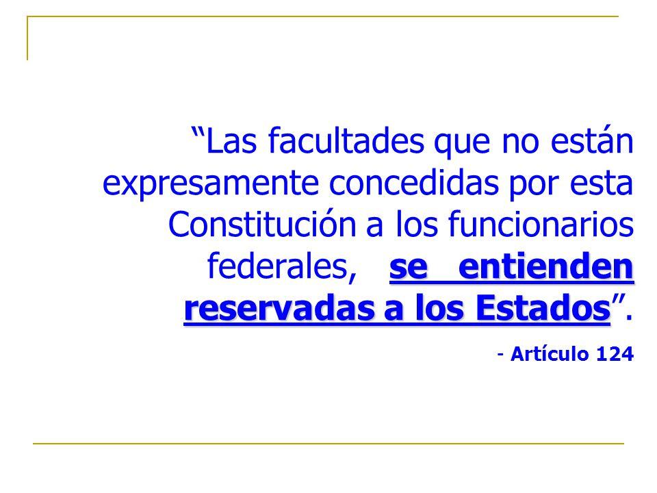 Las facultades que no están expresamente concedidas por esta Constitución a los funcionarios federales, se entienden reservadas a los Estados .