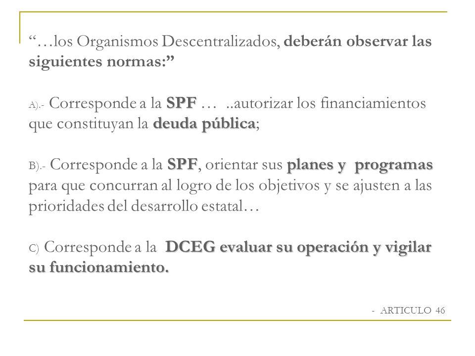 …los Organismos Descentralizados, deberán observar las siguientes normas: A).- Corresponde a la SPF … ..autorizar los financiamientos que constituyan la deuda pública; B).- Corresponde a la SPF, orientar sus planes y programas para que concurran al logro de los objetivos y se ajusten a las prioridades del desarrollo estatal… C) Corresponde a la DCEG evaluar su operación y vigilar su funcionamiento.