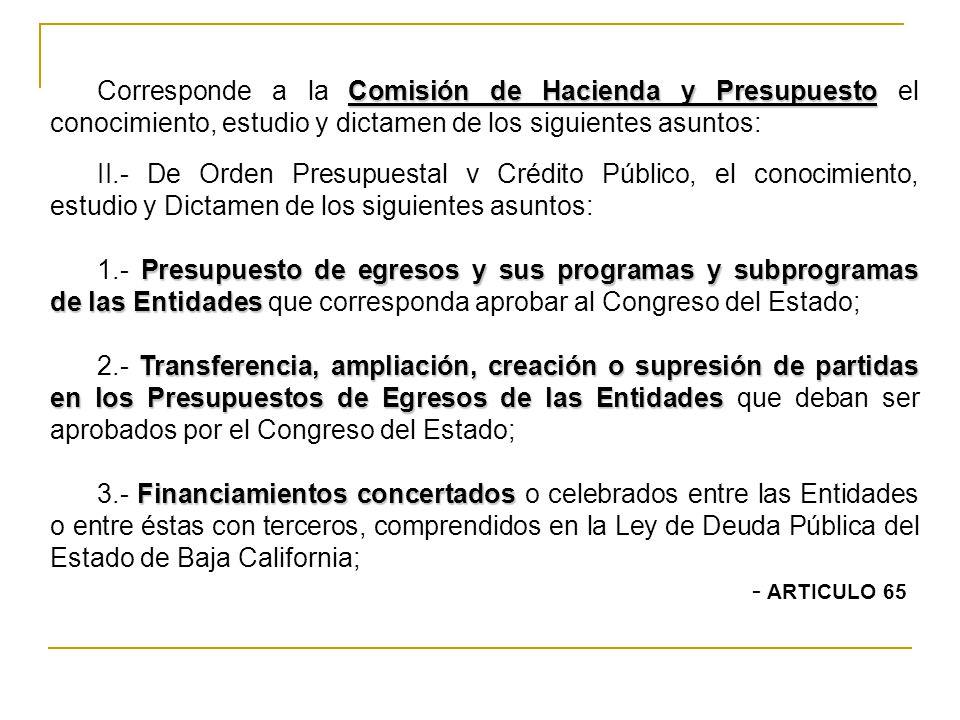 Corresponde a la Comisión de Hacienda y Presupuesto el conocimiento, estudio y dictamen de los siguientes asuntos: