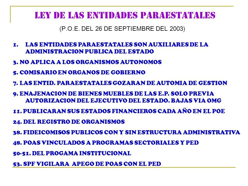 LEY DE LAS ENTIDADES PARAESTATALES