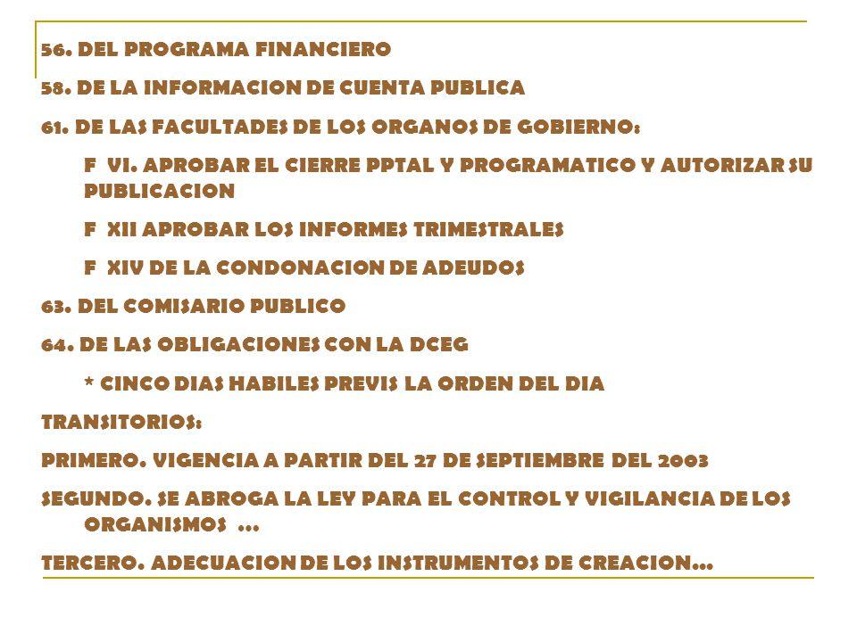 56. DEL PROGRAMA FINANCIERO