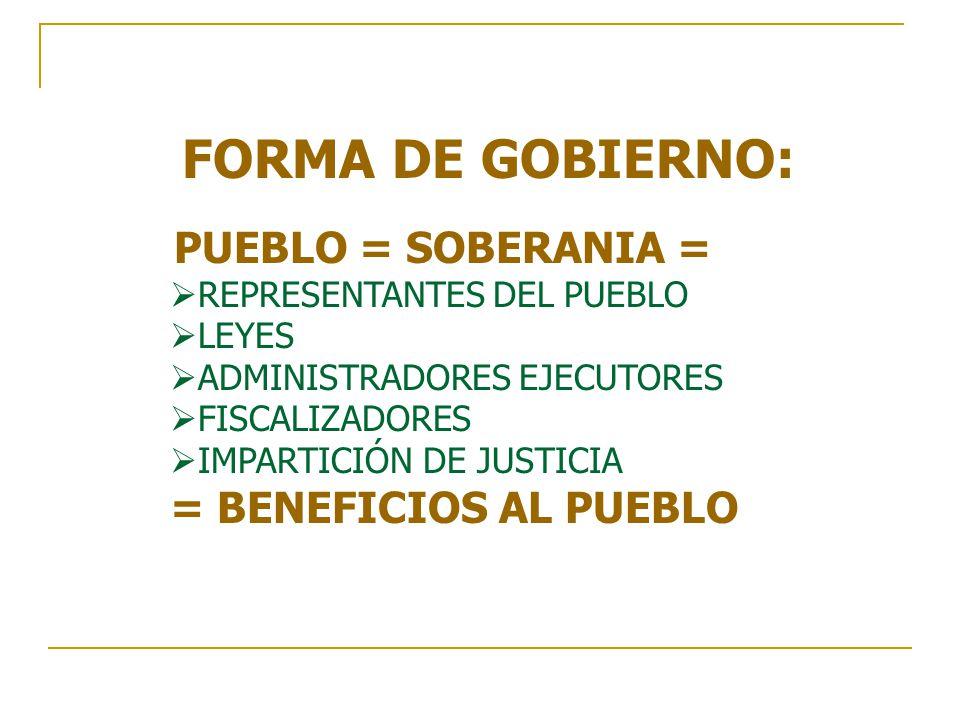 FORMA DE GOBIERNO: PUEBLO = SOBERANIA = = BENEFICIOS AL PUEBLO
