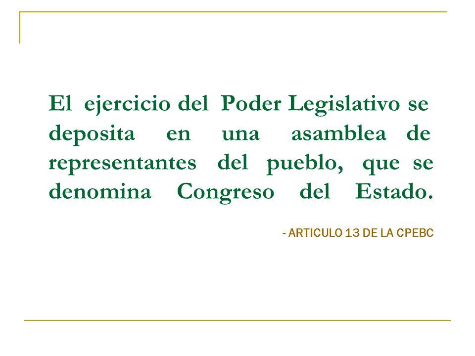 El ejercicio del Poder Legislativo se deposita en una asamblea de representantes del pueblo, que se denomina Congreso del Estado.