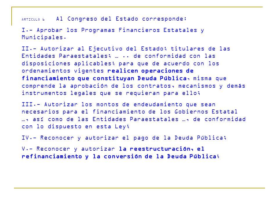 ARTICULO 6 Al Congreso del Estado corresponde: I