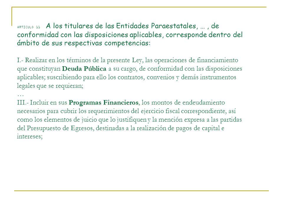 ARTICULO 11 A los titulares de las Entidades Paraestatales, … , de conformidad con las disposiciones aplicables, corresponde dentro del ámbito de sus respectivas competencias: I.- Realizar en los términos de la presente Ley, las operaciones de financiamiento que constituyan Deuda Pública a su cargo, de conformidad con las disposiciones aplicables; suscribiendo para ello los contratos, convenios y demás instrumentos legales que se requieran; … III.- Incluir en sus Programas Financieros, los montos de endeudamiento necesarios para cubrir los requerimientos del ejercicio fiscal correspondiente, así como los elementos de juicio que lo justifiquen y la mención expresa a las partidas del Presupuesto de Egresos, destinadas a la realización de pagos de capital e intereses;