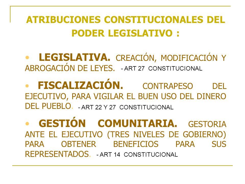 ATRIBUCIONES CONSTITUCIONALES DEL PODER LEGISLATIVO :
