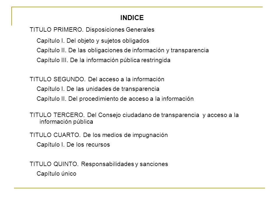 INDICE TITULO PRIMERO. Disposiciones Generales