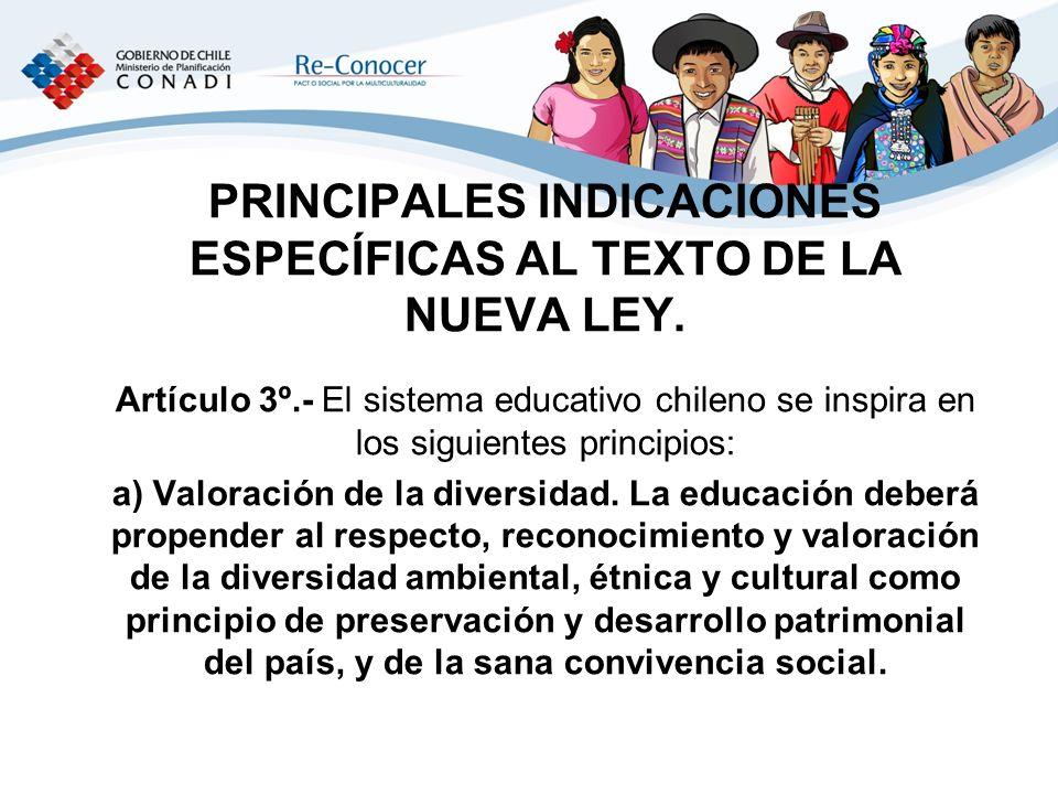PRINCIPALES INDICACIONES ESPECÍFICAS AL TEXTO DE LA NUEVA LEY.