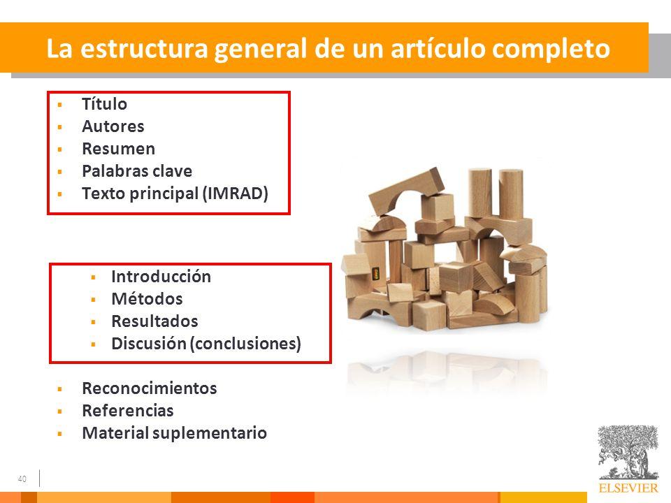 La estructura general de un artículo completo