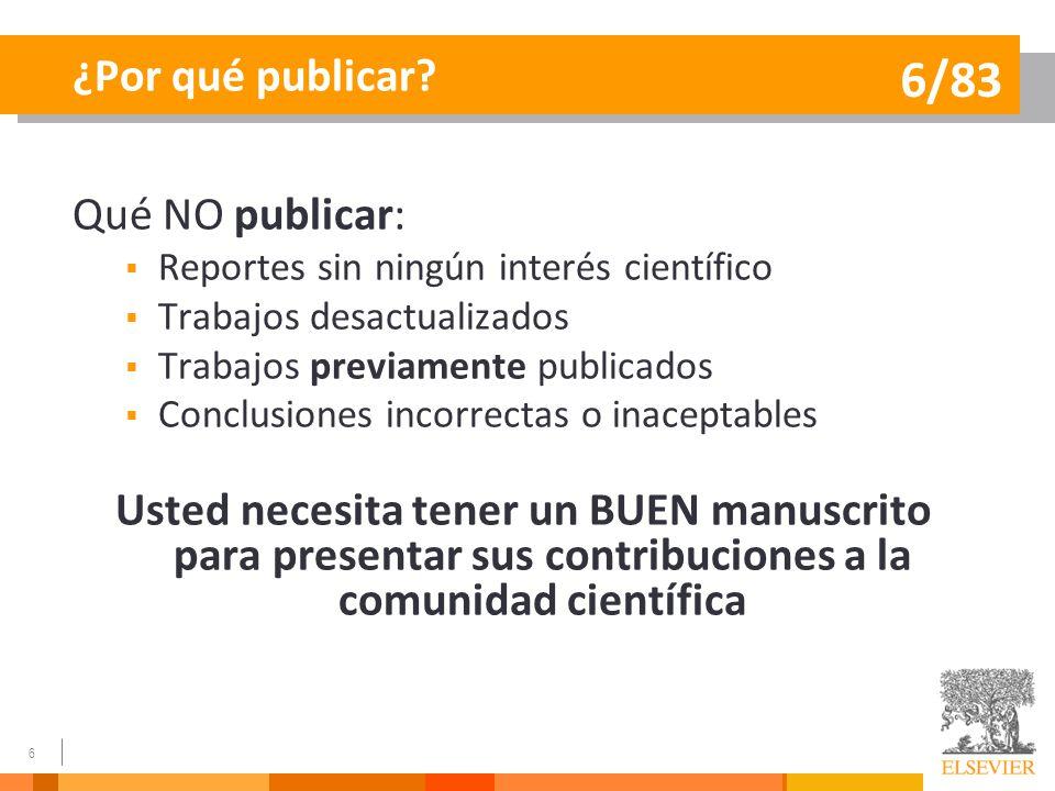 6/83 ¿Por qué publicar Qué NO publicar: