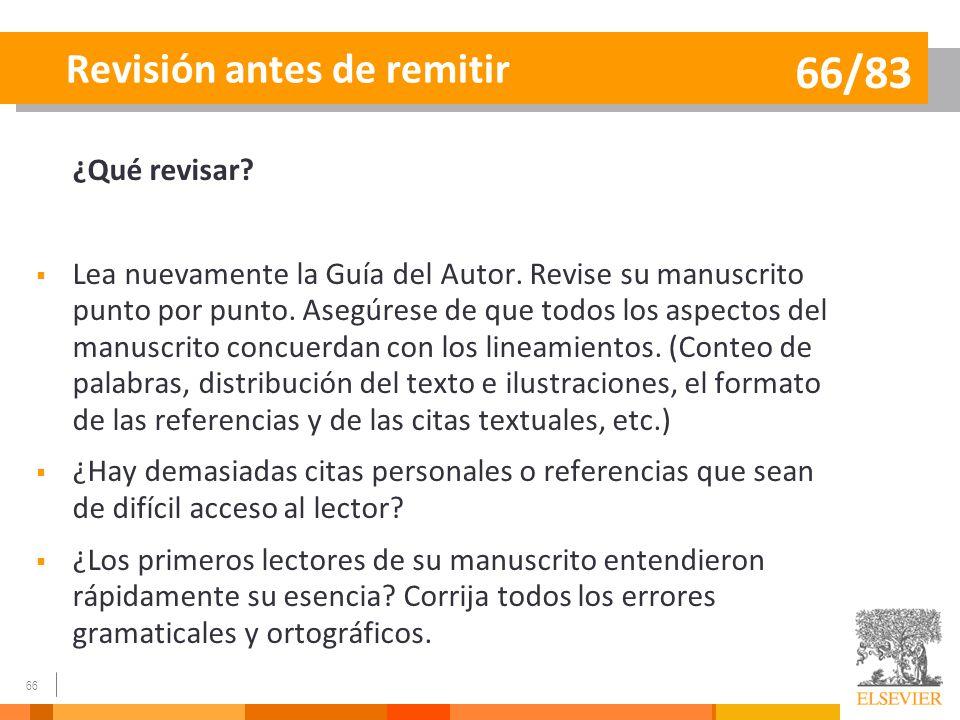 66/83 Revisión antes de remitir ¿Qué revisar