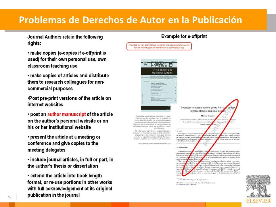 Problemas de Derechos de Autor en la Publicación