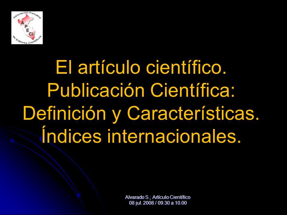 El artículo científico. Publicación Científica: