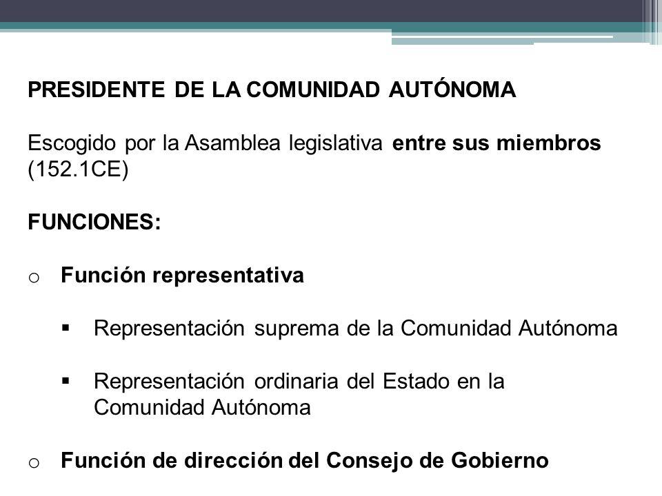 PRESIDENTE DE LA COMUNIDAD AUTÓNOMA