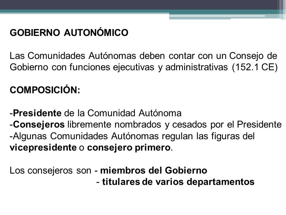 GOBIERNO AUTONÓMICO Las Comunidades Autónomas deben contar con un Consejo de. Gobierno con funciones ejecutivas y administrativas (152.1 CE)