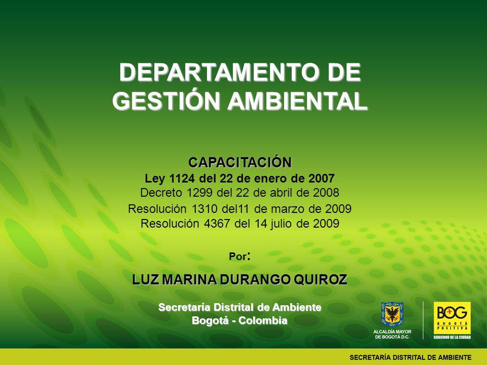 DEPARTAMENTO DE GESTIÓN AMBIENTAL