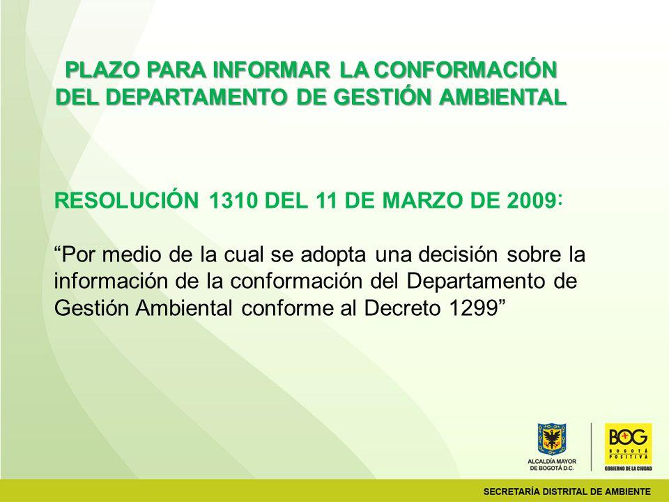 RESOLUCIÓN 1310 DEL 11 DE MARZO DE 2009: