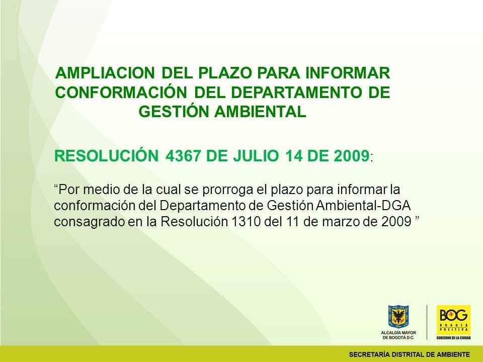 RESOLUCIÓN 4367 DE JULIO 14 DE 2009: