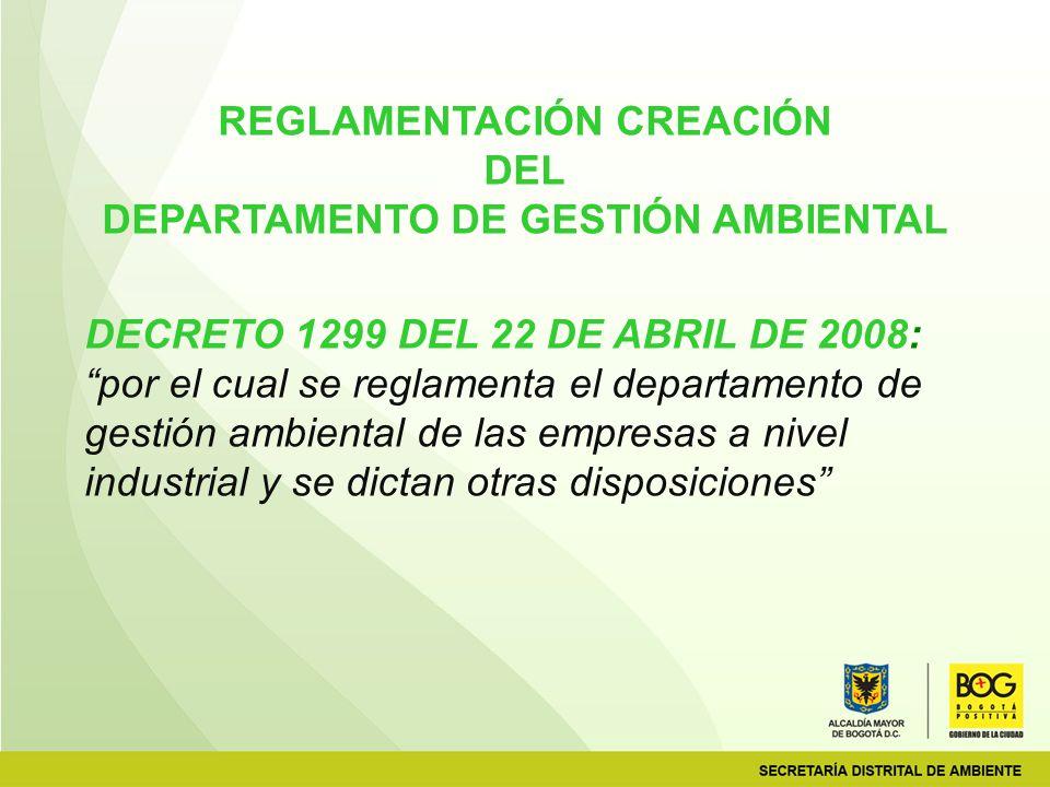 REGLAMENTACIÓN CREACIÓN DEPARTAMENTO DE GESTIÓN AMBIENTAL