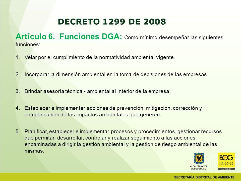 Artículo 6. Funciones DGA: Como mínimo desempeñar las siguientes