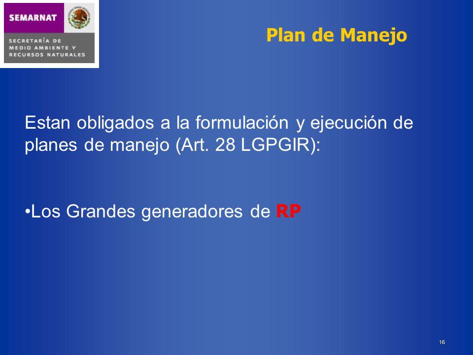 Plan de Manejo Estan obligados a la formulación y ejecución de planes de manejo (Art.