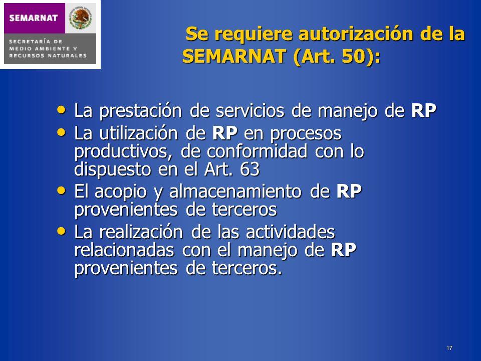 La prestación de servicios de manejo de RP
