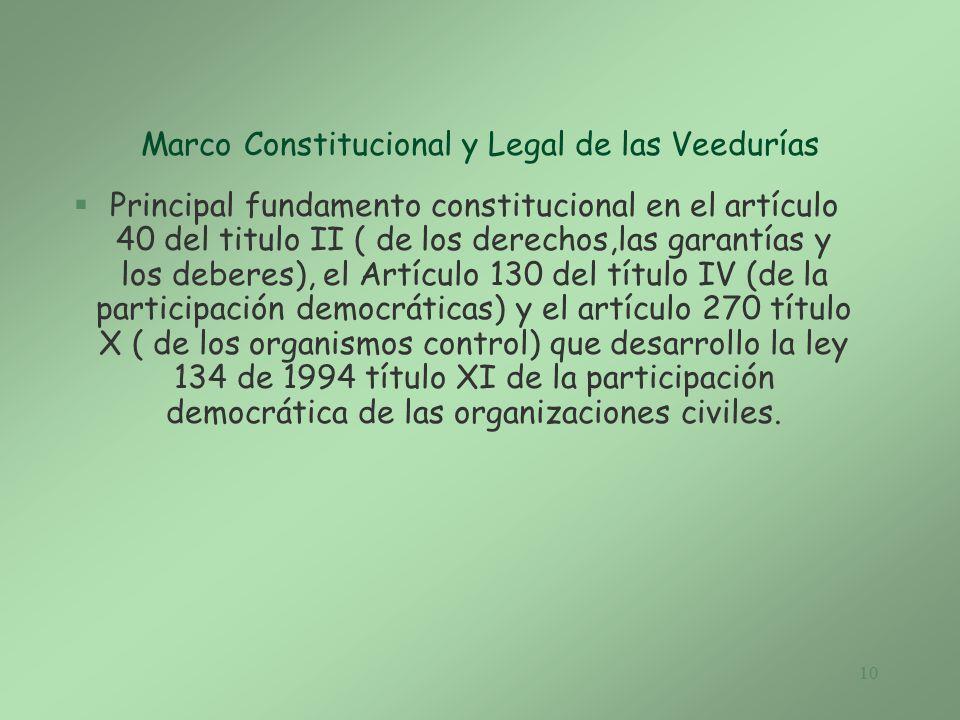 Marco Constitucional y Legal de las Veedurías