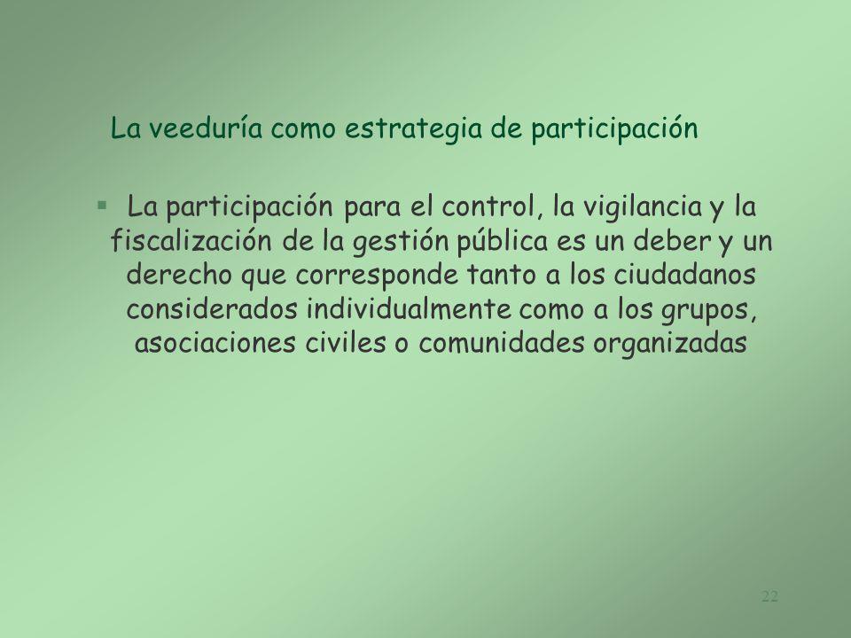 La veeduría como estrategia de participación
