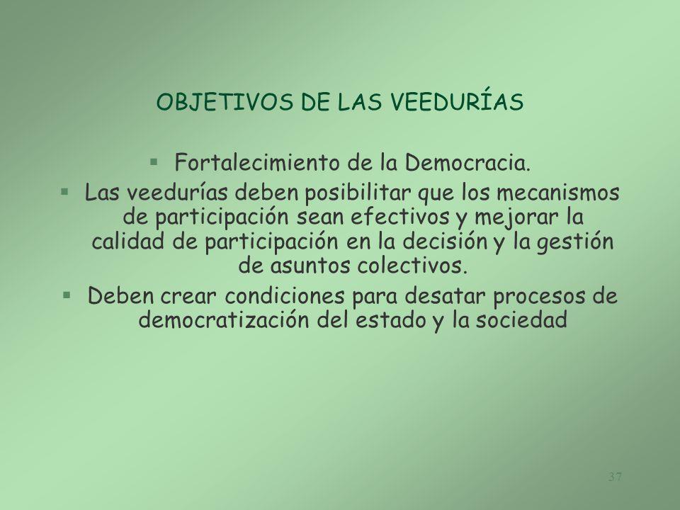OBJETIVOS DE LAS VEEDURÍAS