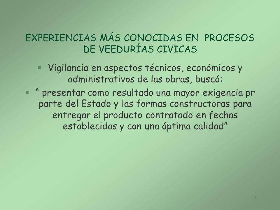 EXPERIENCIAS MÁS CONOCIDAS EN PROCESOS DE VEEDURÍAS CIVICAS