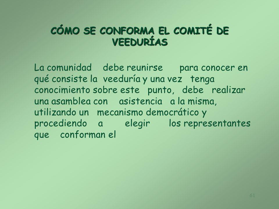 CÓMO SE CONFORMA EL COMITÉ DE VEEDURÍAS