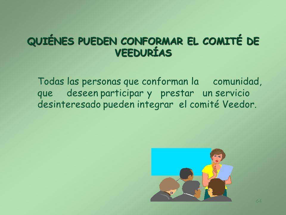 QUIÉNES PUEDEN CONFORMAR EL COMITÉ DE VEEDURÍAS