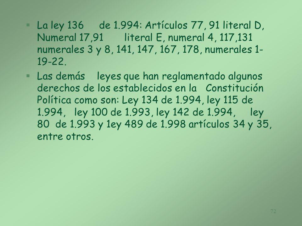 La ley 136 de 1.994: Artículos 77, 91 literal D, Numeral 17,91 literal E, numeral 4, 117,131 numerales 3 y 8, 141, 147, 167, 178, numerales 1-19-22.