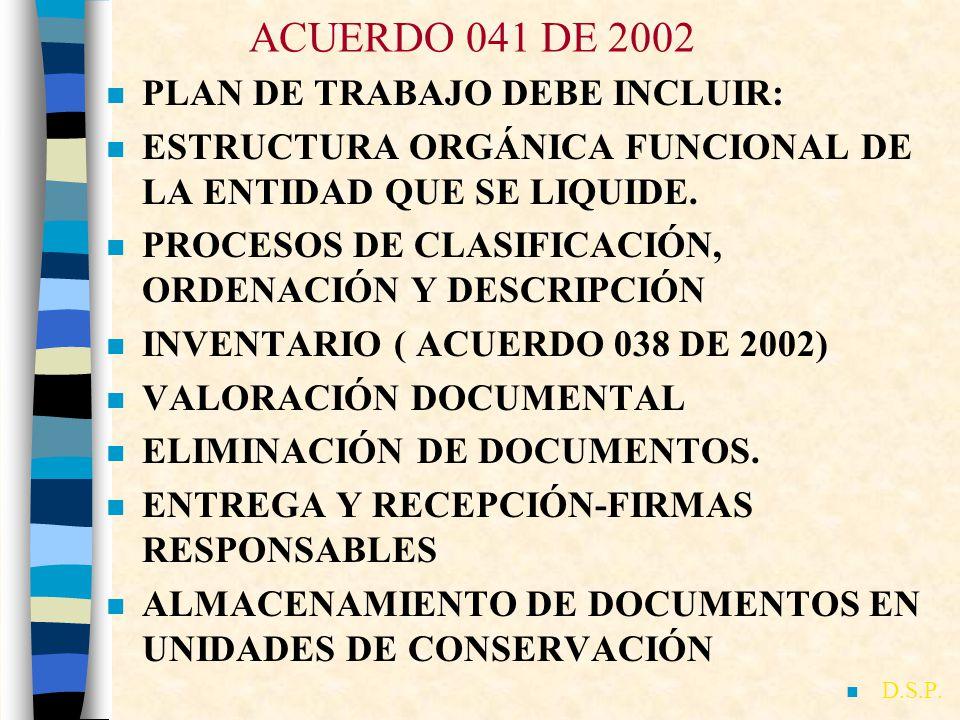 ACUERDO 041 DE 2002 PLAN DE TRABAJO DEBE INCLUIR: