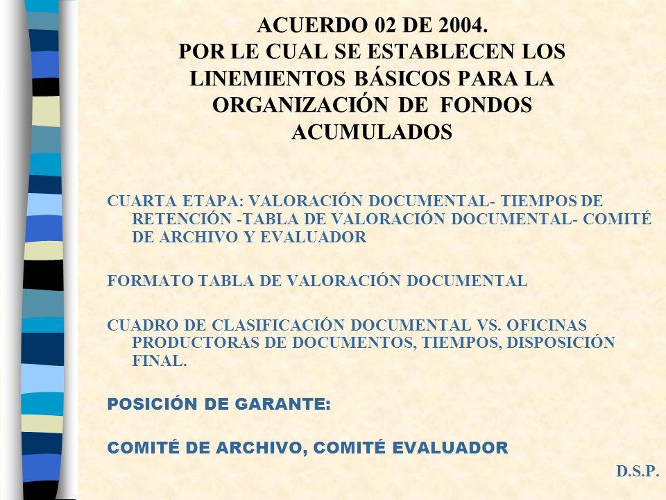 ACUERDO 02 DE 2004. POR LE CUAL SE ESTABLECEN LOS LINEMIENTOS BÁSICOS PARA LA ORGANIZACIÓN DE FONDOS ACUMULADOS