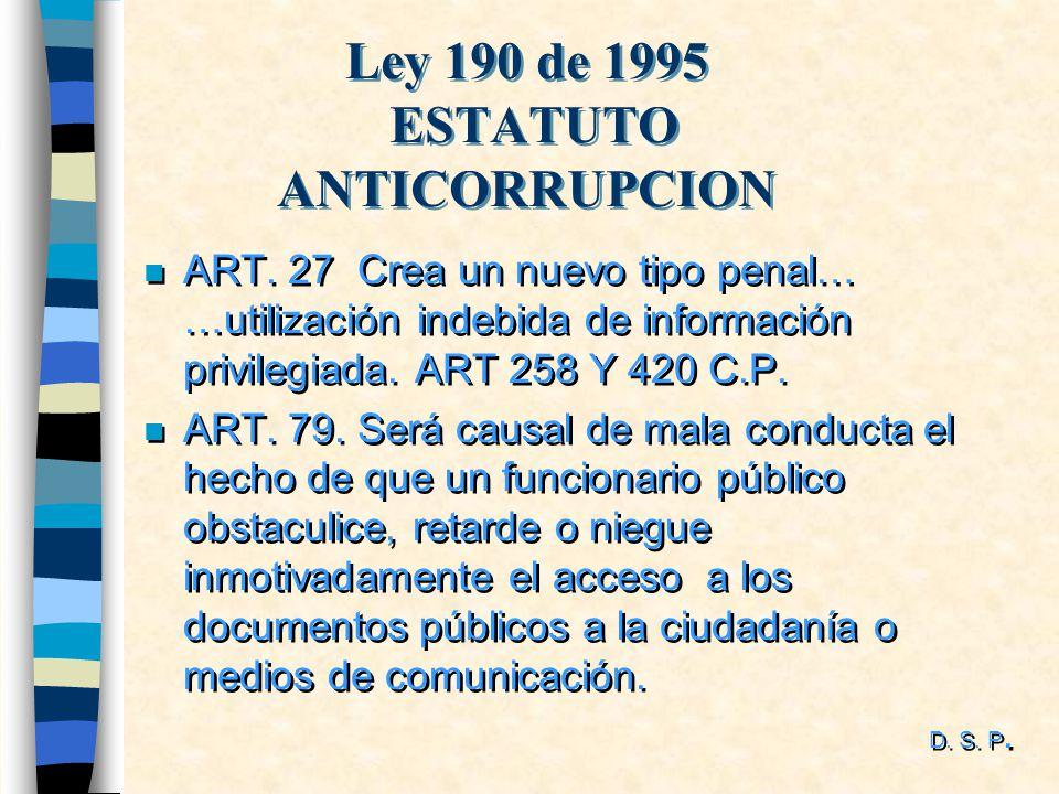 Ley 190 de 1995 ESTATUTO ANTICORRUPCION