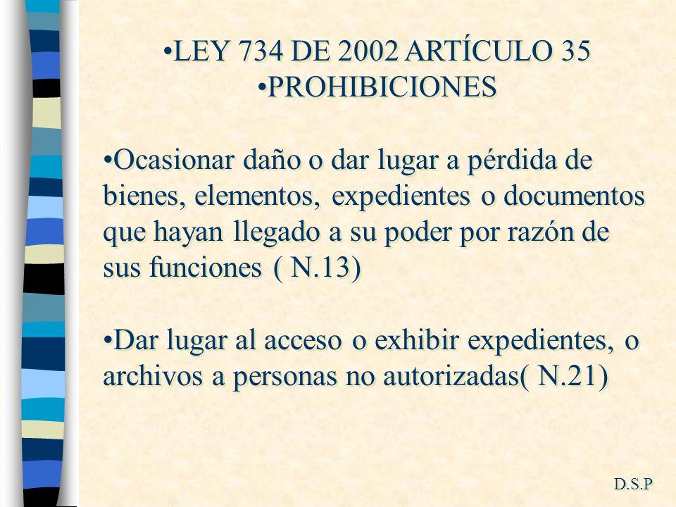 LEY 734 DE 2002 ARTÍCULO 35 PROHIBICIONES