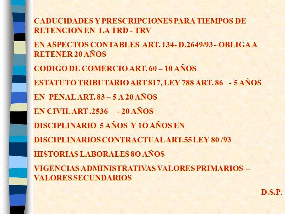 CADUCIDADES Y PRESCRIPCIONES PARA TIEMPOS DE RETENCION EN LA TRD - TRV