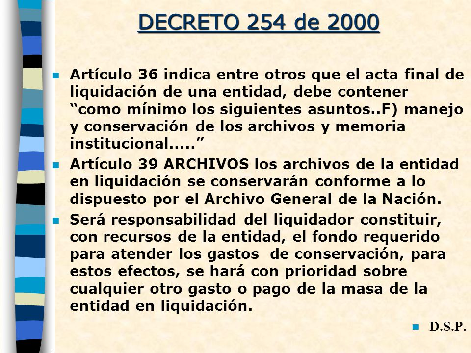 DECRETO 254 de 2000