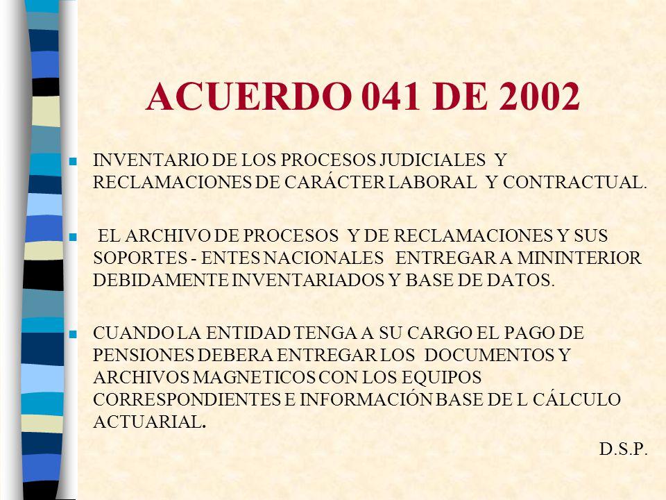 ACUERDO 041 DE 2002 INVENTARIO DE LOS PROCESOS JUDICIALES Y RECLAMACIONES DE CARÁCTER LABORAL Y CONTRACTUAL.