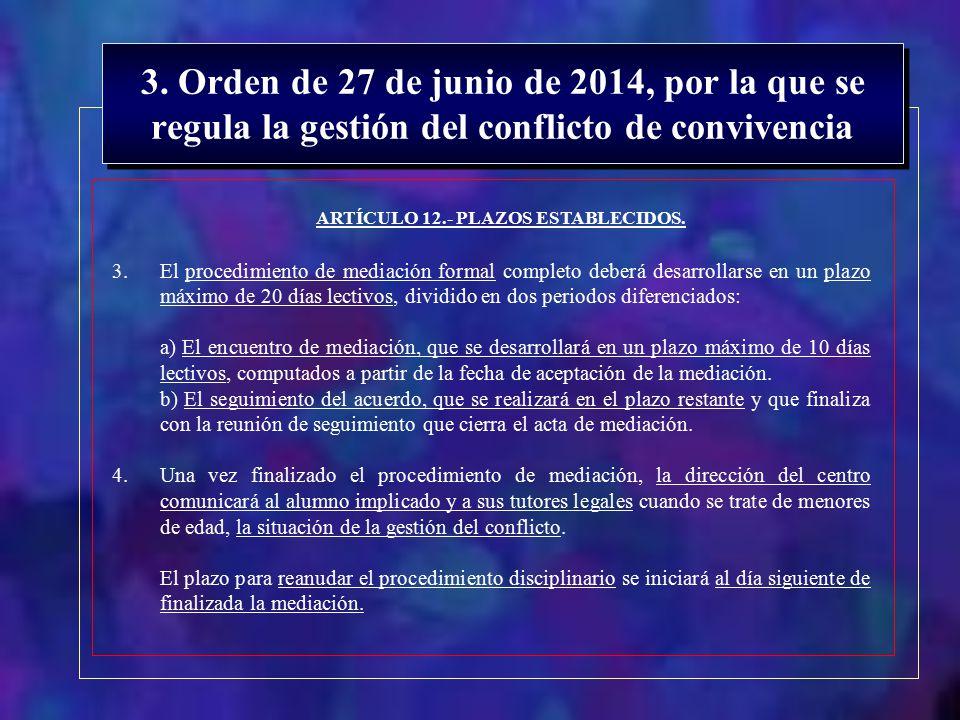 ARTÍCULO 12.- PLAZOS ESTABLECIDOS.