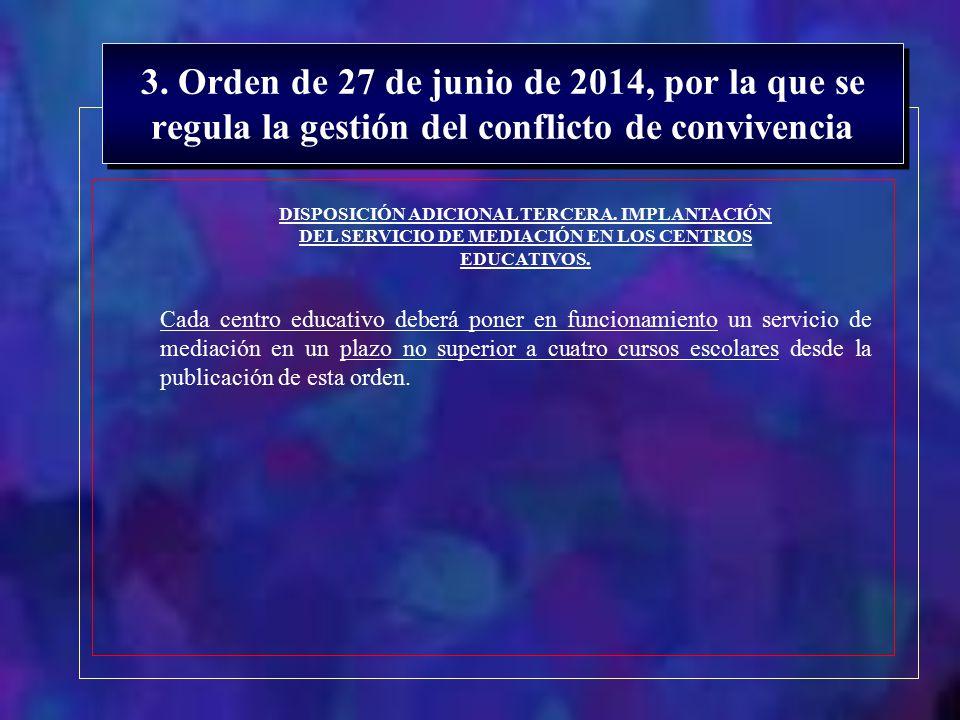 3. Orden de 27 de junio de 2014, por la que se regula la gestión del conflicto de convivencia